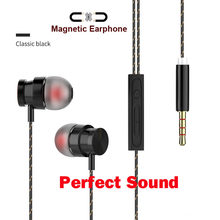 Metal Magnetic Earphone For Huawei Y9 Y7 Y3 Y5 2017 Y6 Pro Y5II Y6II Y3II Y6 II Earphones 3.5mm Jack Super Bass Earpiece With Mic(China)