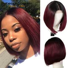 "Rebecca bob lace front wigs For Black Women Peruvian short human hair wigs ombre human hair wig Middle Part 10"" Free Shipping(China)"