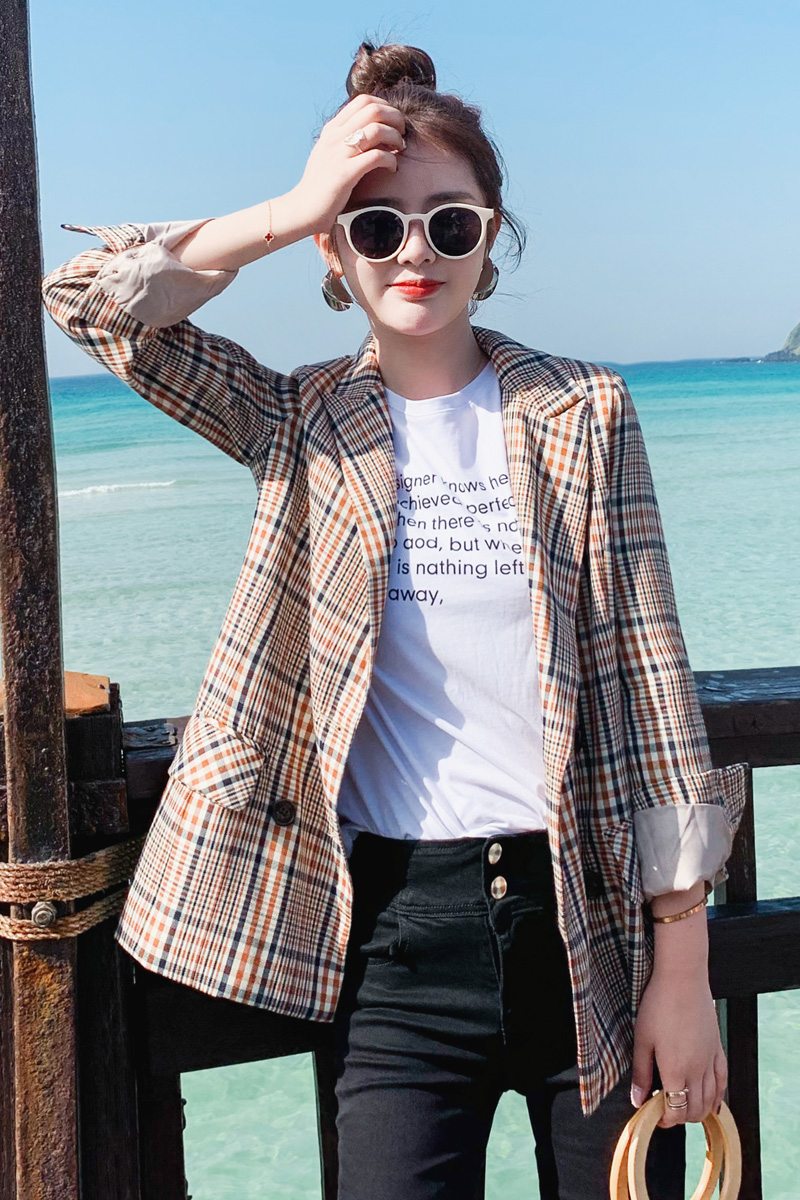Vintage Plaid Ladies Blazer Khaki Loose Casual Stylish Suit Jacket Blazer Largo Mujer Korean Office Women Blazer Spring MM60NXZ