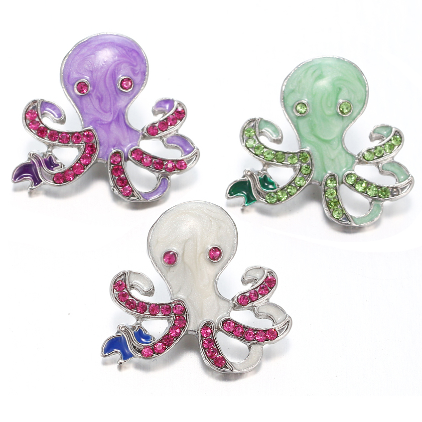 10pcs/lot Octopus Design Mixed color Rhinestone 18mm snap buttons metal snaps for snaps Necklace jewelry VN-2007 image
