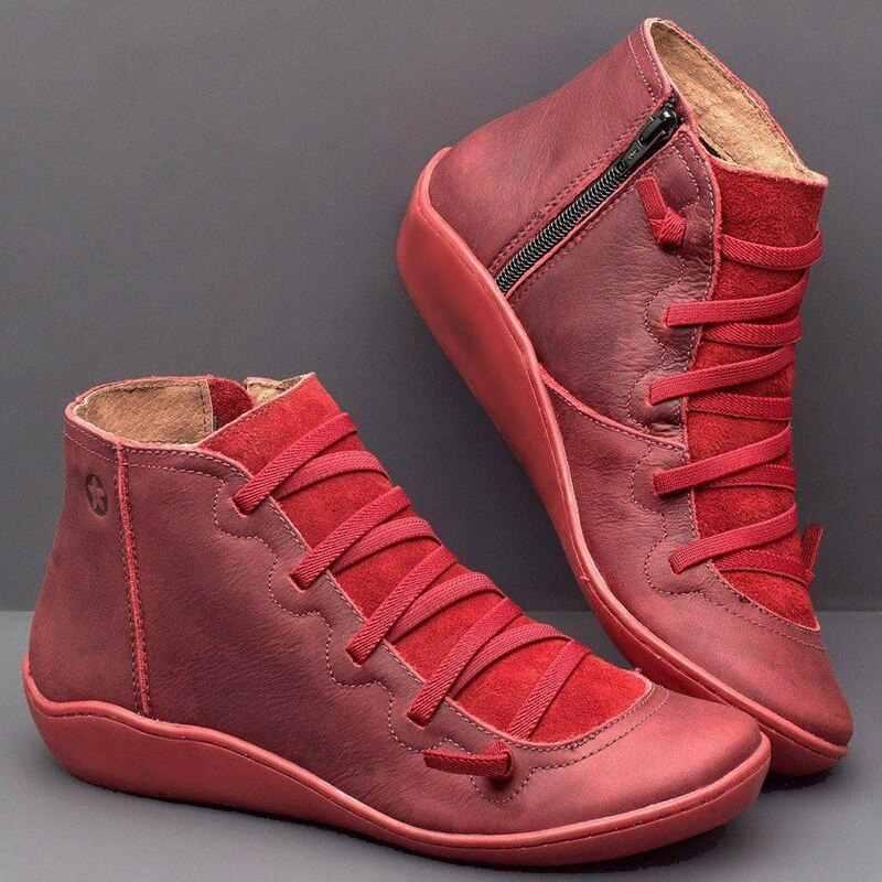 CYSINCOS Frauen Winter Schnee Stiefel PU Leder Ankle Frühling Flache Schuhe Frau Kurze Braun Botas 2020 Für Frauen Lace Up botas Mujer