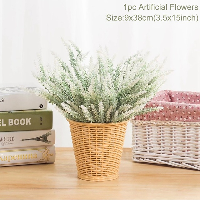 1 bouquet Provence Lavender Artificial Flowers High Quality Flower For Home Decor Grain Decorative Fake Plant silk flowers 3