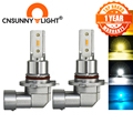 CNSUNNY светильник H11 H8 светодиодный автомобильный противотуманный светильник H9 H16 9005 9006 2400Lm 6000K Белый 1900K Янтарный 8000K синий авто DRL Foglamp 2 шт