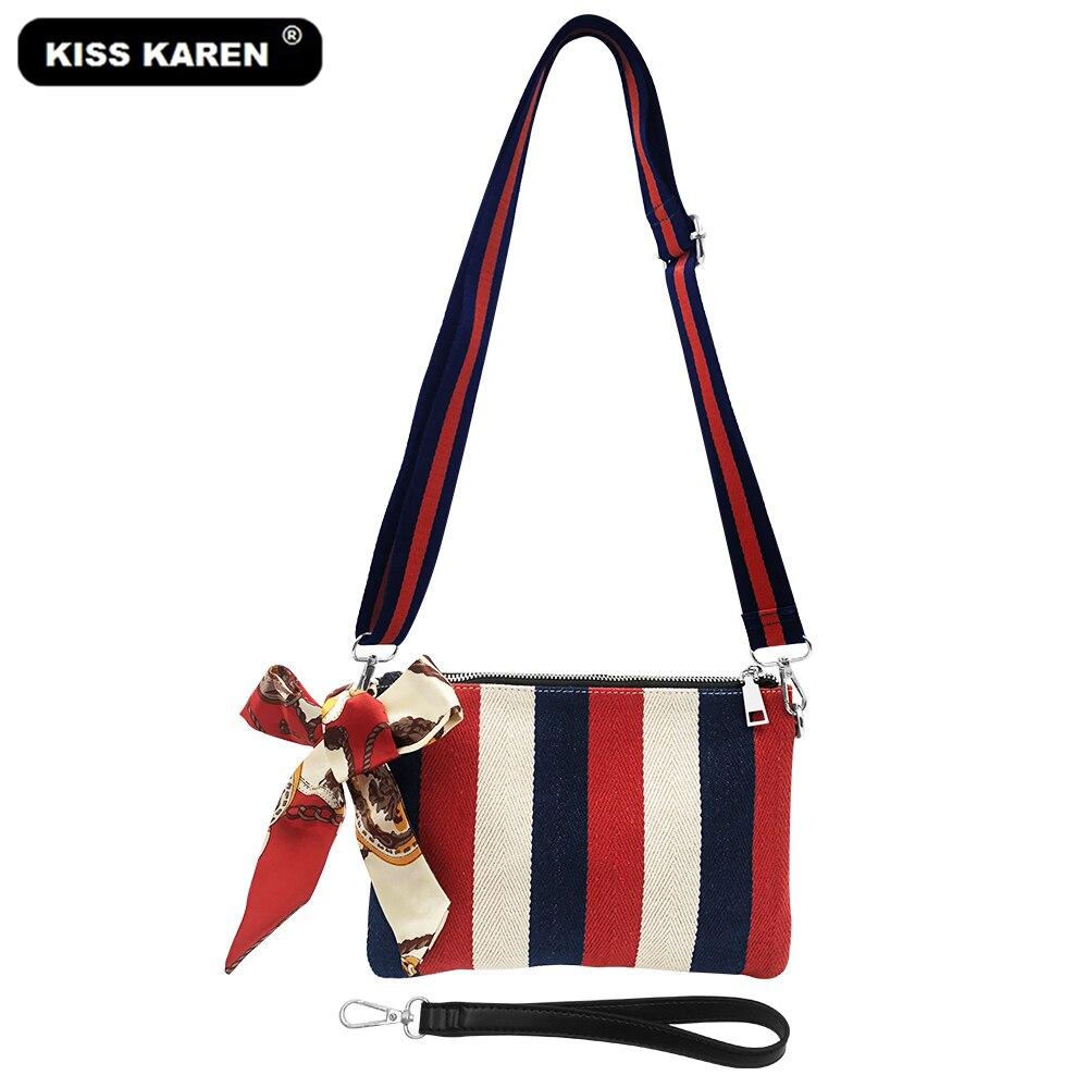 KISS KAREN Stylish Color Stripes Canvas Wristlets Chic Womens Shoulder Bags with Scarves Women Messenger Bag Fashion Lady Purse