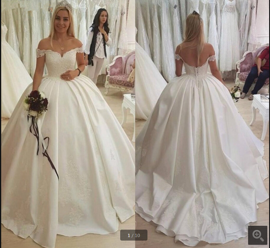 Robe De Soiree White Lace Appliques Ball Gown Elegant Wedding Dresses Off The Shoulder V Neckline Princess Bride Gowns On Sale
