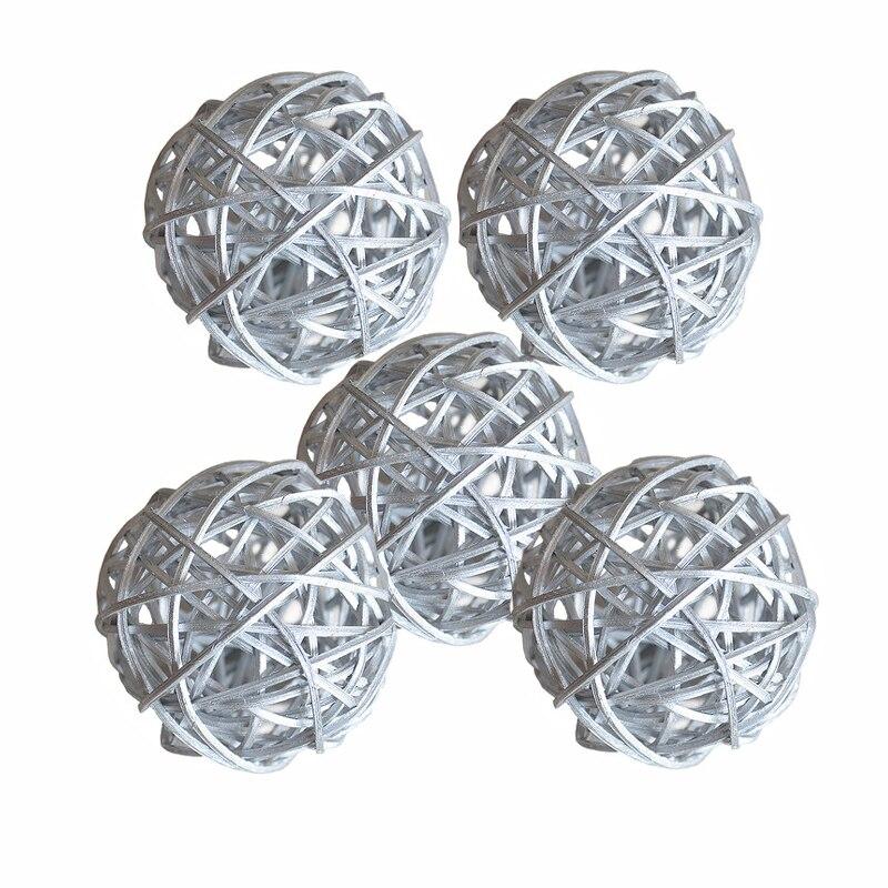 Ротанговые плетеные тростниковые шары диаметром 5 см для сада патио, свадебные, вечерние украшения, DIY для тайского стиля гирлянды - Цвет корпуса: Silver