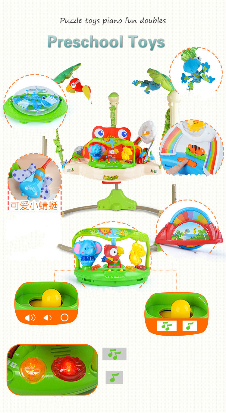 H20eaecb6177543efad96e40f327af7212 Multifunctional Electric Baby Jumping Walker Cradle Rainforest Baby Swing Body-building Rocking Chair Lucky Child Swing 3 M~2 Y