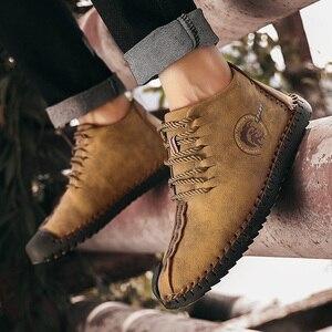 Image 5 - JUNJARM, модные мужские ботинки высококачественные зимние ботильоны из спилка теплая зимняя обувь на меху с плюшевой подкладкой на шнуровке большой размер 38 48