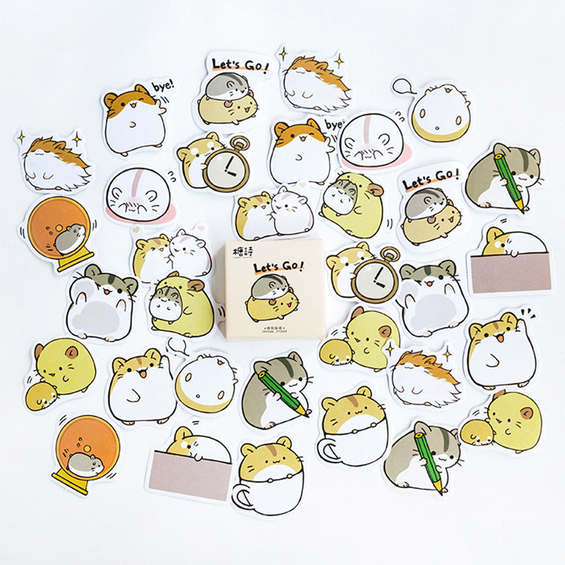 45Pcs/box Cute Decorative Sticker Kawaii Cavy Stationery Sticker Paper Adhesive Sticker For Kids DIY Scrapbooking Diary Supplies