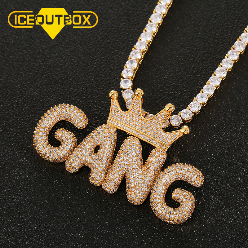 Custom Name Letter Crown Pendant For Women Men's Hip Hop Jewelry Gold Silver Cubic Zircon Bubble Letters With Box Drop Shipping