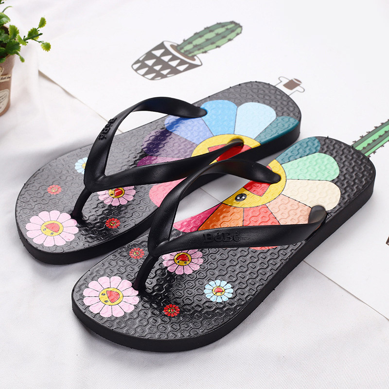 Women's Summer Slippers Women Cute Flower Flip Flops Ladies Soft Slides Female Outdoor Beach Shoes Woman Casual Couple Slippers