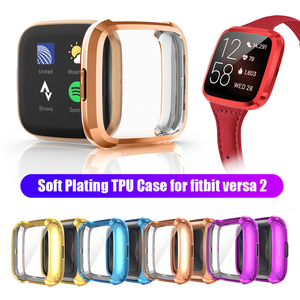 1Pcs 10 Color Soft Tpu Case For Fitbit Versa 2 Band Waterproof Watch Shell Cover Screen Protector For Fitbit Versa 2 Smart Watch