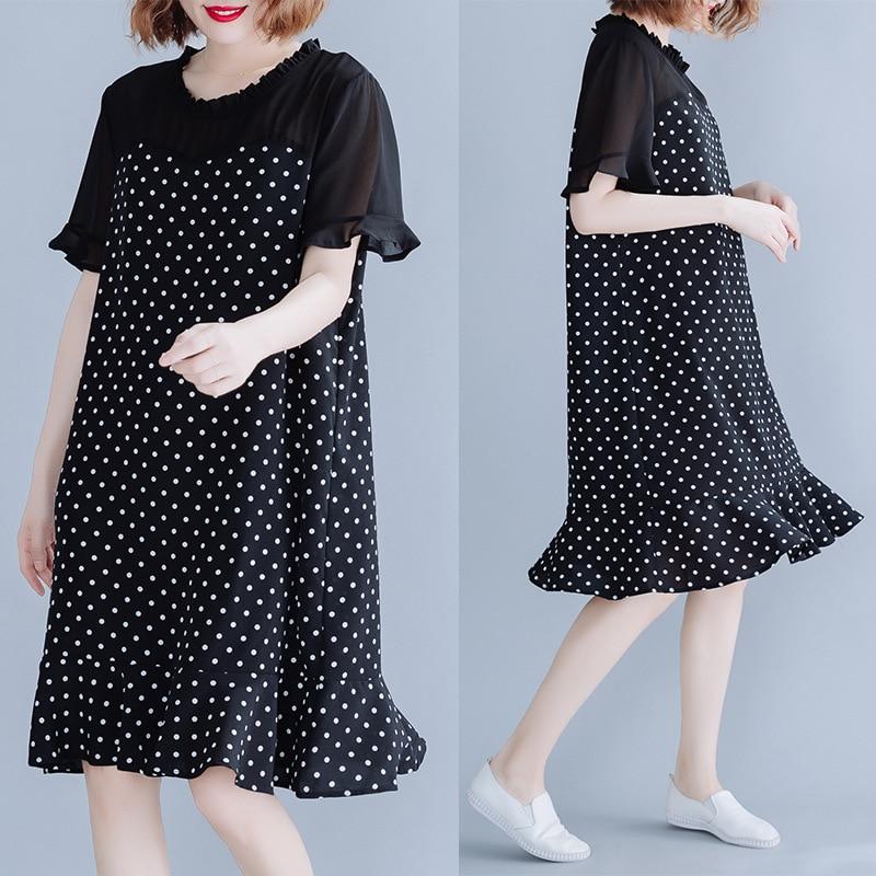 Fashion Slimming Chiffon Dress Straight-Cut Polka Dot Loose-Fit Flounced Fishtail Hem Large Size Fat Mm Summer Wear