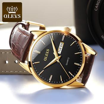 OLEVS Top Brand  Men Classic Quartz Waterproof Watch Leather Strap Business Popular Casual Men Watch 2