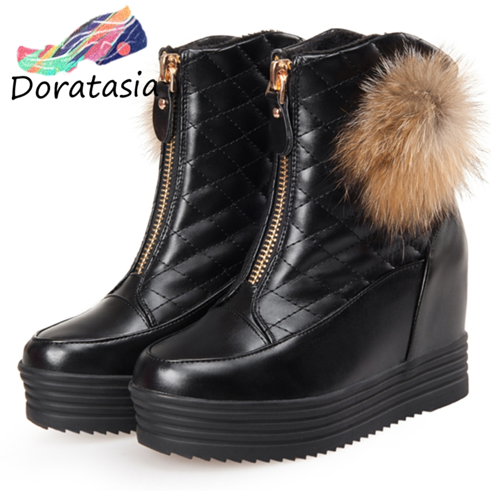 DORATASIA New 33-43 Winter Warm Super Ankle Snow Boots Women 2019 Platform Booties Ladies Height Increasing Shoes Woman