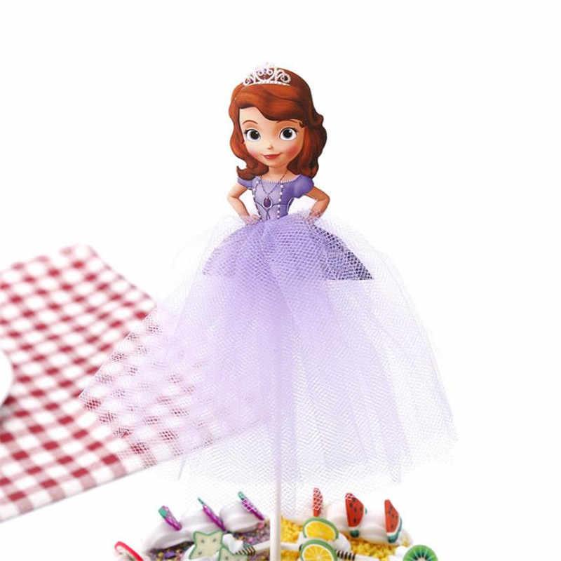 1pcs การ์ตูนเจ้าหญิงวันเกิดตกแต่งเด็ก Cupcake เค้ก Topper สำหรับสาวสุขสันต์วันเกิดปาร์ตี้ฝักบัวเด็กเค้กอุปกรณ์
