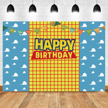 Photography Background Table Happy-Birthday-Toy Boys-Story Banner Woody Kids Cartoon