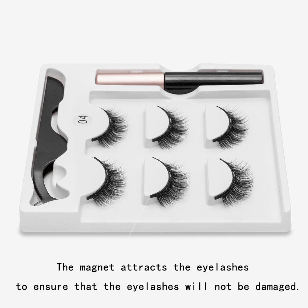 Magnetic Eyelashes 3D Mink Fake Eyelash Magnet Eyeliner Mink Fake Eyelash Waterproof Liquid Tweezers Set Long Lasting Eyelash 5
