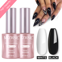 Get more info on the MIZHSE 18ML UV Gel Varnish Nail Polish Set For Manicure Gel Lacquer Gel Polish Black White Semi Permanent Top And Base Coat