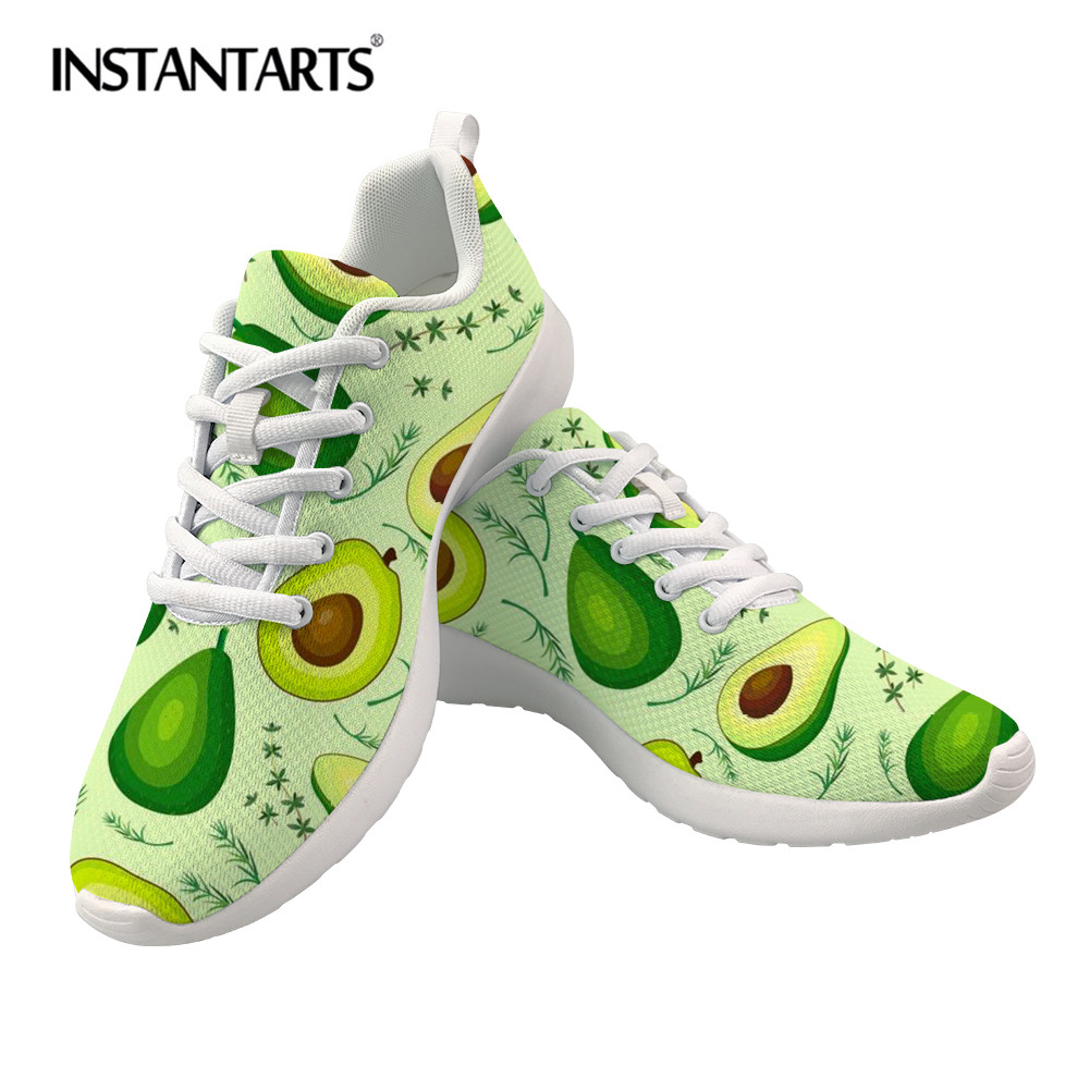 Cheap INSTANTARTS Avocado Printed Women Flat Shoes Custom Logo Casual Sneakers for Woman Comfortable Mesh Spring Ladies Running Shoes