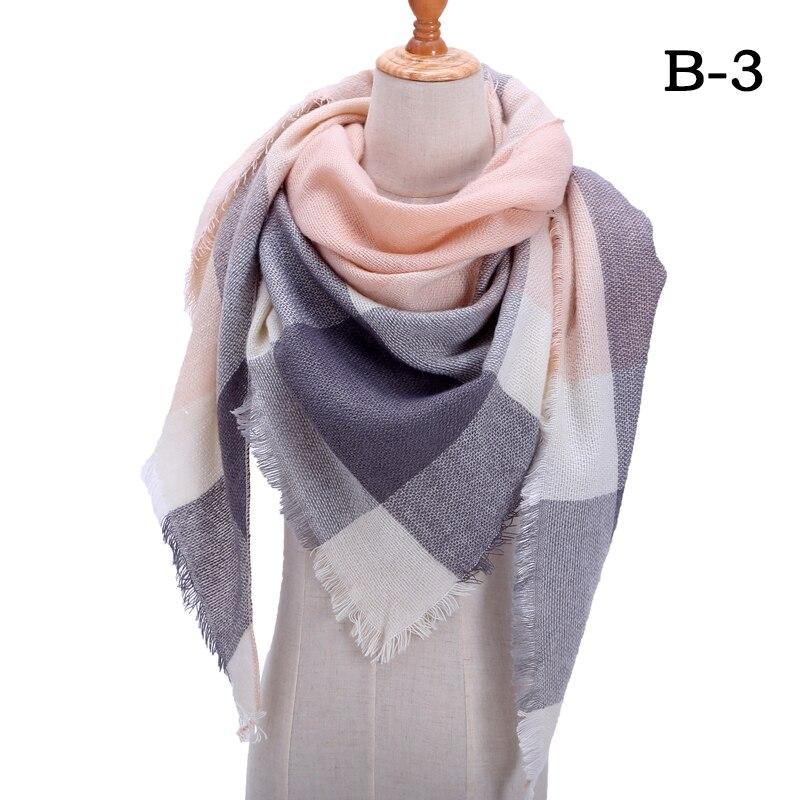 Женский зимний шарф в ретро стиле, кашемировые вязаные пашмины шали, женские мягкие треугольные шарфы, бандана, теплое одеяло, новинка - Цвет: bb3