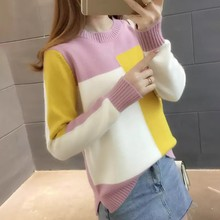 Autumn Candy Color Women\'s Sweater Round Collar Colorblock Long Sleeve Knit Top Multicolor with Splicing Thin Tops #25 fashionable women s pumps with black color and splicing design