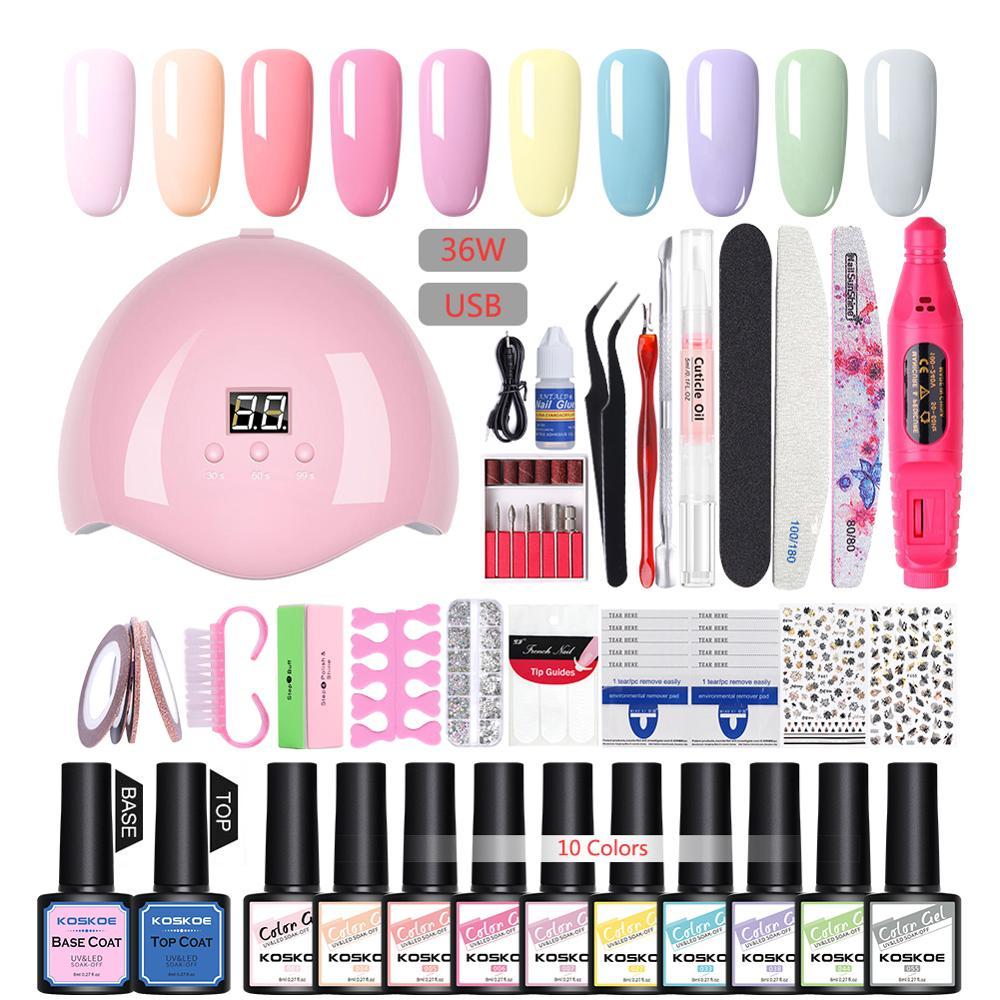 KOSKOE набор для ногтей 36 Вт УФ светодиодный светильник Сушилка с 12 Цветов гель лак для ногтей, фрезер для ногтей, сверлильный станок Комплект и...