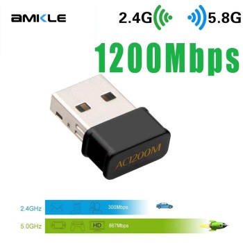 Amkle Wifi Adapter 1200Mbps Wireless Lan USB Ethernet 2.4G 5G Dual Band USB Network Card Wifi Dongle 802.11n/g/a/ac for PC Mac dual band ac1900 broadcom bcm94360 wireless 802 11ac wifi adapter desktop wifi pci express card for mac osx pc hackintosh win10
