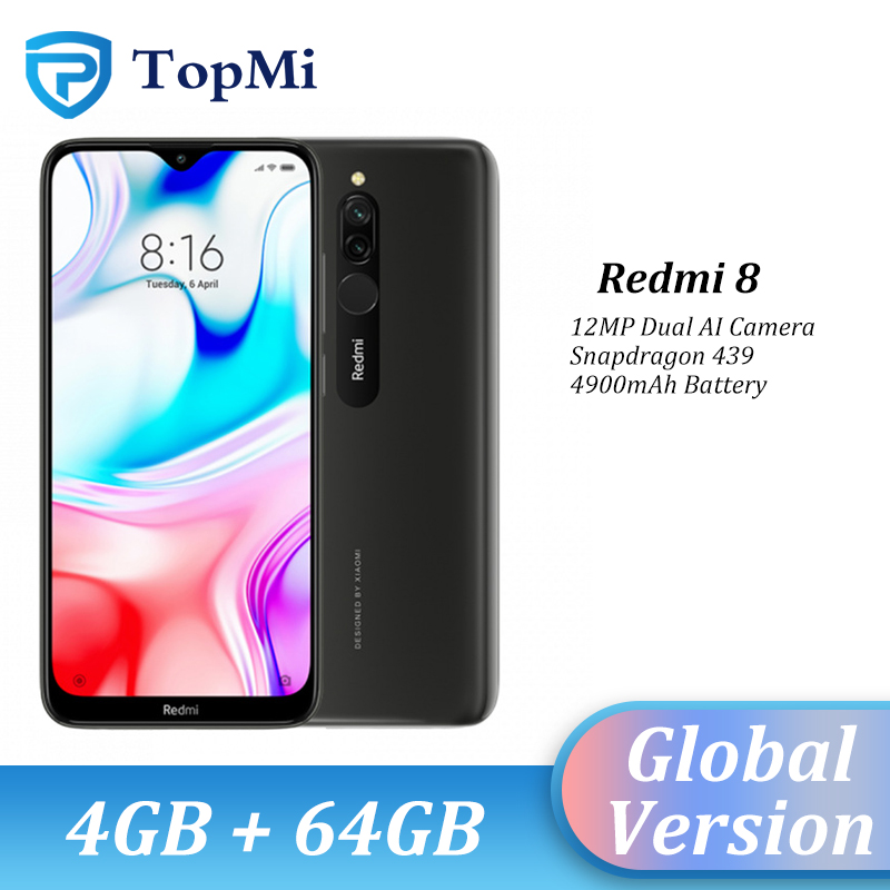 In Stock!Global Version Xiaomi Redmi 8 Smartphone 4GB RAM 64GB ROM 5000mAh Spnadragon 439 12MP Real Camera 18W Fast Cellphone