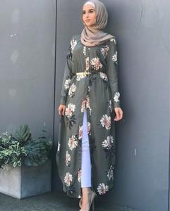 Image 5 - Kalenmos Dubai Arabischen Muslimischen Abaya Kleid Frauen Neue Roben Print Floral Schlank Langarm Islamische Eid Beiläufige Lange Kleid Plus größe 5xl