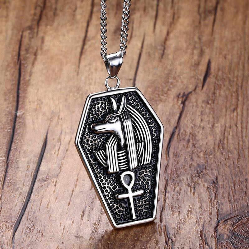 Modyle aço inoxidável místico egito caixão amuleto anubis ankh pingente colar vintage collar jóias masculinas