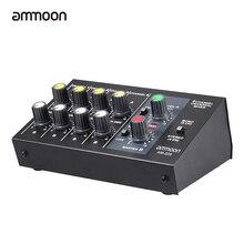 Ammoon am-228 초소형 믹싱 콘솔 저잡음 8 채널 메탈 모노 스테레오 오디오 사운드 믹서 (전원 어댑터 케이블 포함)