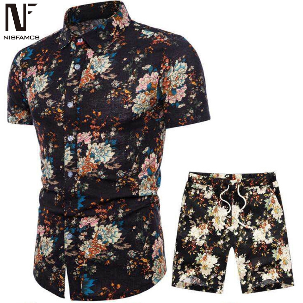 Vintage Men Tracksuit Fitness Punk Rock Party Suit Mens Club Beach Track Suits 2019 Hip Hop Flower Sets Male Casual Clothes