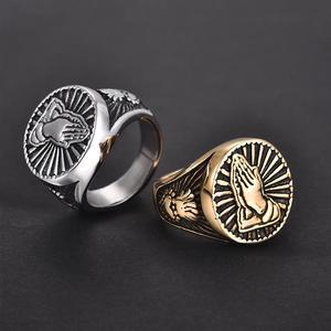 Image 4 - Gebed Handen Ringen Voor Mannen Zwart Zilver Kleur Rvs Gezegend Heilige Vintage Mannelijke Ring Religieuze Lucky Christian Sieraden