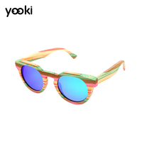 New Style Brand Vintage Multicolor Wooden Polarized Sunglasses for women men Colorful Bamboo Sun Glasses Driving Eyeglasses