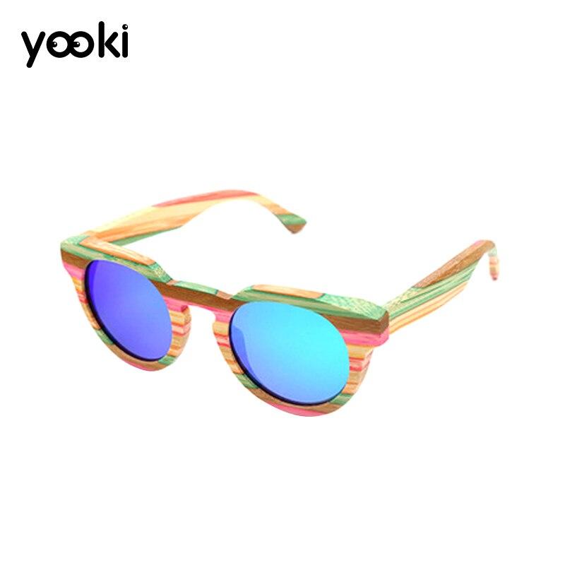 Nouveau Style marque Vintage multicolore en bois lunettes de soleil polarisées pour femmes hommes coloré bambou lunettes de soleil conduite lunettes