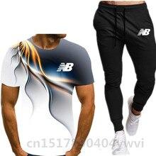 Nova moda masculina camiseta + calças, duas roupas esportivas masculinas de verão + calças, esportes e lazer moda fatos de pista