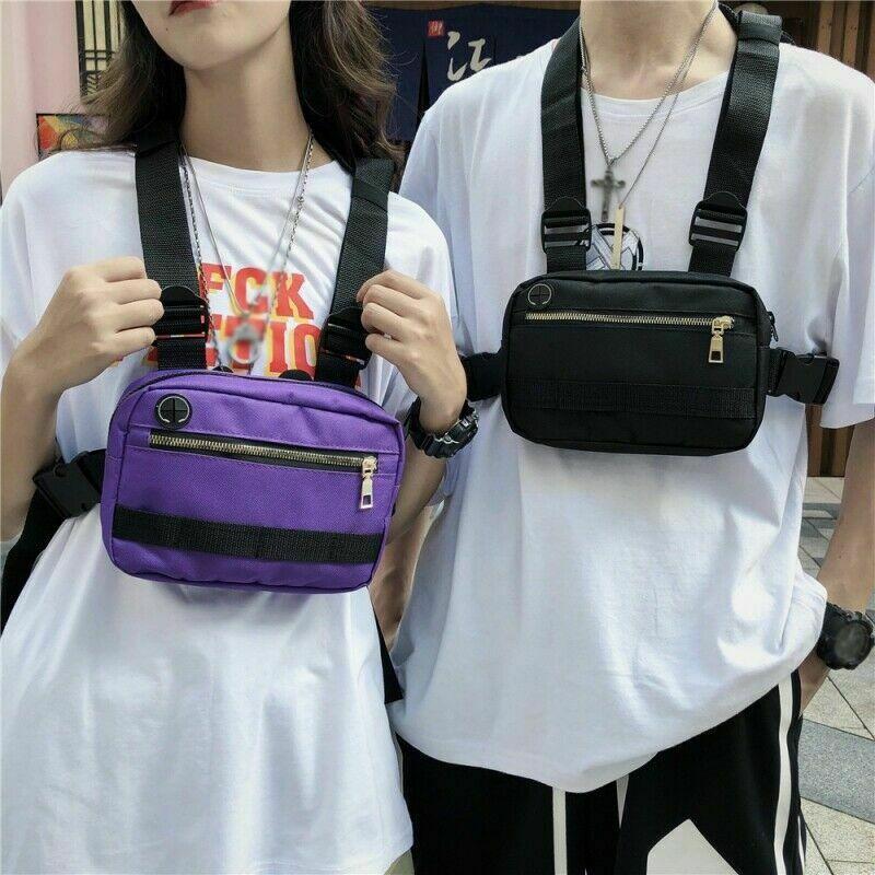 Unisex Men Women Fashion Chest Bag Hip Hop Streetwear Casual Nylon Canvs Waist Bag Adjustable Tactical Chest Bags