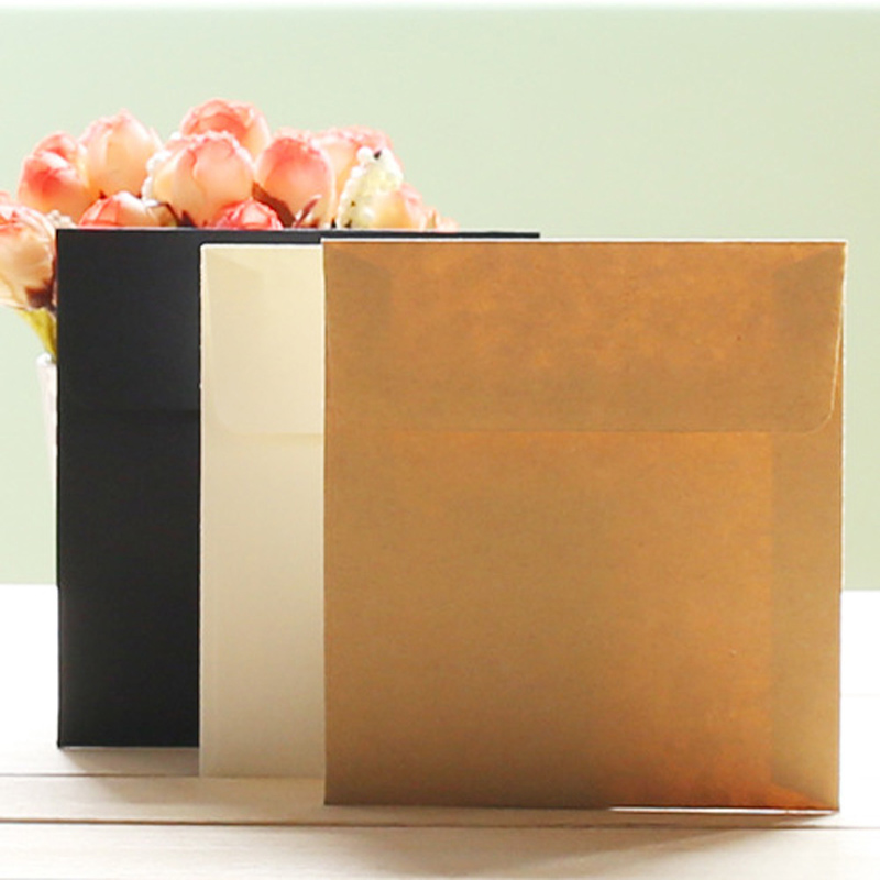 Mini Square Envelope Kraft Paper Envelope Card Small Storage Envelope 10pcs/lot 10*10cm