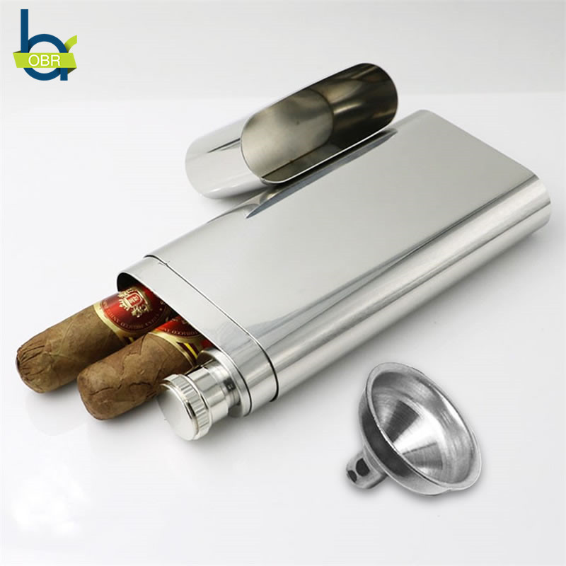 OBR Stainless Steel Wine and Cigar Case with Funnel Cigarette Box Hip Flask Liquor Tube Outdoor Bottle Beer Whiskey Drinkware
