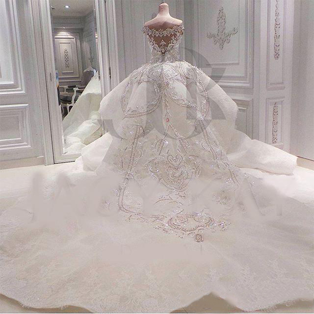 Luxury 2021 Real Image Lace Mermaid Wedding Dresses With Detachable Overskirt Dubai Arabic Portrait Sparkly Crystals Diamonds 2