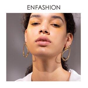 Image 1 - ENFASHION 불규칙한 곡선 라인 드롭 귀걸이 여성을위한 골드 컬러 단순 매달아 귀걸이 패션 주얼리 Dropshippping E191143