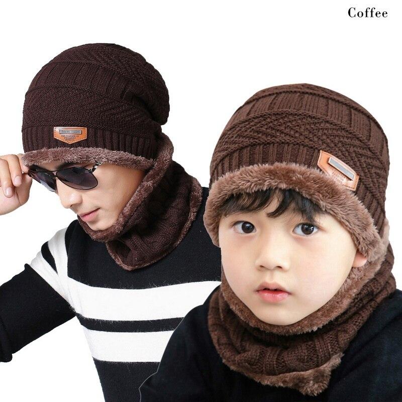 Boys Kids Winter Knitted Hat Scarf Set Beanies Dad Baby 2020 Thick Warm Fleece Mask Cap Scarf Set Children Collar Wrap Beanie