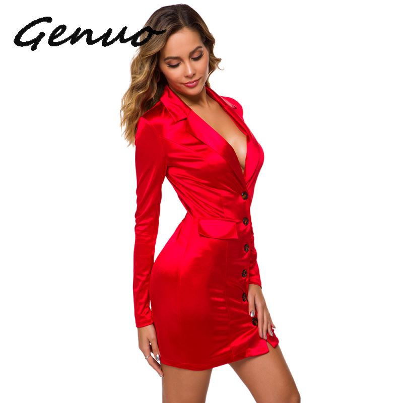 Genuo New 2019 Trendy Woman Satin Blazer 2019 Shiny Long Jacket Dress Hot Pink Red Green Outwear Single Breasted Coat Stage Suit