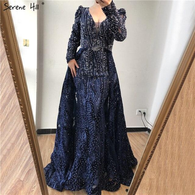 Dubai Blue Deep V Crystal Sexy Evening Dresses 2020 Long Sleeves Luxury Mermaid Evening Gowns Serene Hill Plus Size LA70223