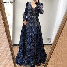 Dubaj niebieskie głębokie V kryształowe seksowne suknie wieczorowe 2020 długie rękawy luksusowa suknia wieczorowa rozkloszowana na dole Serene Hill Plus rozmiar LA70223