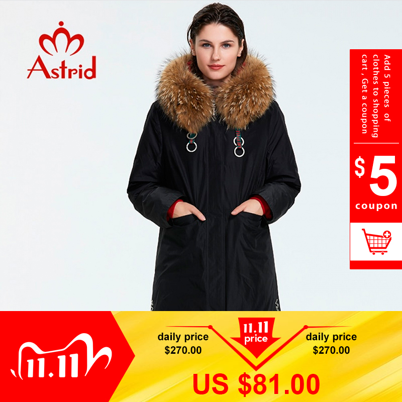 Astrid 2019 Winter new arrival down jacket women with a fur collar outerwear high quality long fashion women winter coat FR 7049|Parkas| - AliExpress