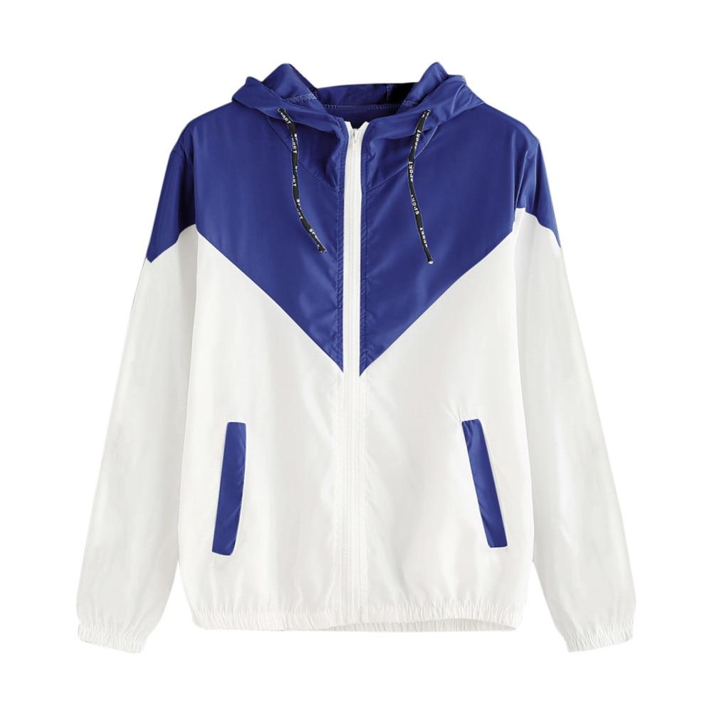 Jacket Women Patchwork Thin Harajuku Style Long Sleeve Zipper Pockets Jacket 2020 Autumn Coat Sportswear #Zer