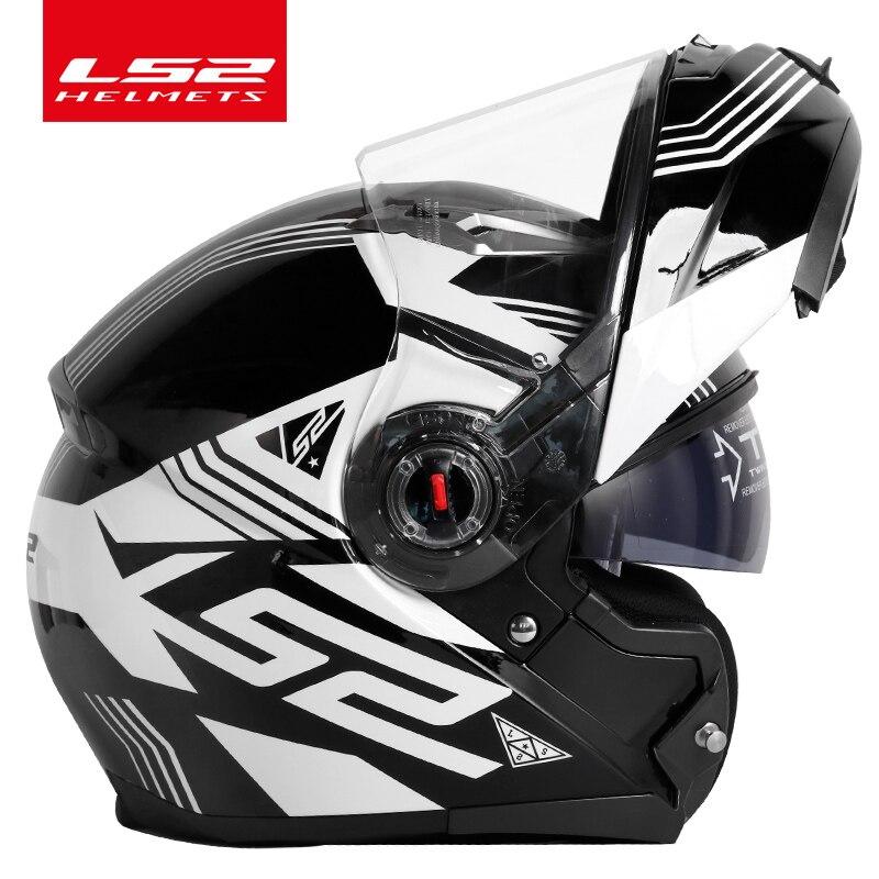 New LS2 FF370 motorcycle helmet dual lens inner sun visor casque moto LS2 flip up modular racing helmets ECE certification