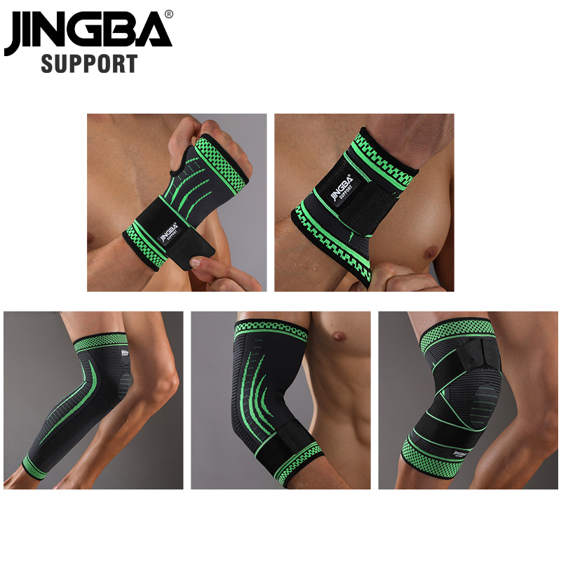JINGBA SUPPORT 1PCS Nylon Bandage knee protector+wristband Support+ankle support+Elbow pads+hand guards+basketball knee Brace